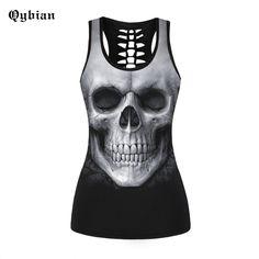 >> Click to Buy << Qybian tank tops Summer Skull punk Style Women's Tank Top Fashion Leisure Sleeveless tops Women Buttons Vest Blusas Feminino cam #Affiliate
