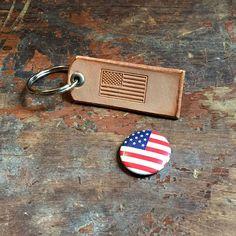 American Flag Leather Keychain by OldChurchWorks on Etsy