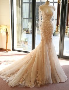 Womens Retro Elegant Romantic Removable Word shoulder Fishtail Handmade flowers Bandage Lace Polyester Champagne Tail Wedding Gown Party Evening Demitoilet Bridesmaid Dress