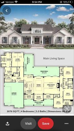 Best House Plans, Dream House Plans, Modern House Plans, House Floor Plans, Sims 3 Houses Plans, Large Floor Plans, Modern Farmhouse Plans, Farmhouse Style, 4 Bedroom House Plans