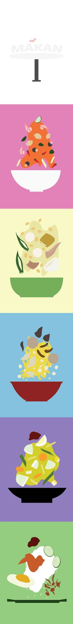 """""""Makan""""  A series of illustrations that show the deconstruction of food that I eat occasionally."""