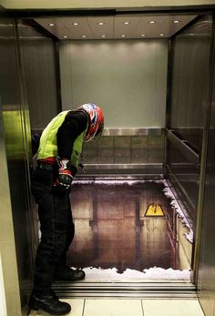 Eek! This elevator at the Southside Shopping Centre in Wandsworth, London, gave shoppers a true scare. The floor was done in a way to appear as if it was missing. As customers stepped onto the elevator, their hearts skipped a beat as they were surely in for a surprise.