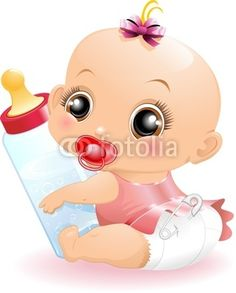 #Cute #Baby #Girl with #Baby_Bottle - Vector © #Bluedarkat - on #Fotolia!