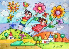"""Io e te tre metri sopra i trulli"" | acuerello su carta | mary fanelli | Flickr Happy Paintings, Kindergarten Art, Autumn Art, Little People, Dory, Art For Kids, Doodles, Drawings, Inspiration"