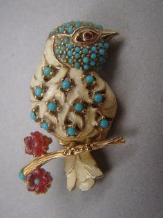 Vintage Ciner Gold Tone Lucite Faux Pearl Bead Rhinestone Etched Bird Brooch Pin   eBay