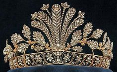The cut steel tiara of the Swedish Monarchy. This feather and leaf tiara is often worn by the Crown Princess Victoria, but was worn previously by her mother, Queen Silvia.