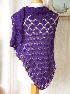$4.99~Purple cotton crochet shawl; the back by BernioliesDesigns, via Flickr