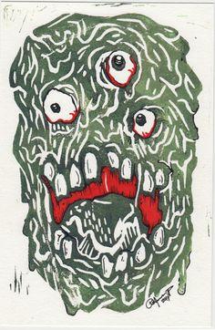 Ooze Dude Lino Print by PatrickJCreates on Etsy