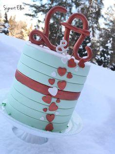 Copper anniversary cake, love, wedding anniversary / kobber, bryllupsdag, kjærlighet - Signert Ellen