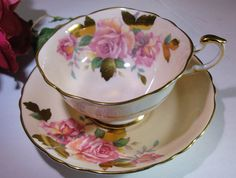 Paragon Dbl Warrant Peach Pink Gold Tea Cup Saucer Hand Painted | eBay