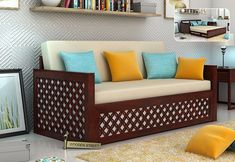 Buy Corsica Sofa Cum Bed (King Size, Mahogany Finish) Online in India - Wooden Street Sofa Cumbed, Buy Sofa, Sofa Beds, Latest Sofa Designs, Sofa Set Designs, Tv Cabinet Design Modern, Sofa Design Pictures, Wooden Street, Wooden Sofa