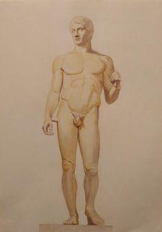 """Σχέδιο με έγχρωμο μολύβι σε χαρτόνι. Το άγαλμα ονομάζεται """"Κανόνας του Λυσίππου"""". Διαστάσεις 30 Χ 42. Τιμή 30 ευρώ. Τηλ.6974915742."""
