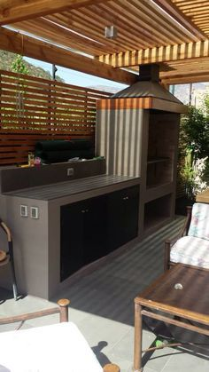 If you have the space in your yard, check out the outdoor kitchen ideas total with bars, seating areas, storage space, as well as grills. Outdoor Kitchen Cabinets, Outdoor Kitchen Bars, Outdoor Kitchen Design, Outdoor Rooms, Outdoor Living, Parrilla Exterior, Kitchen Pictures, Kitchen Ideas, Kitchen Designs