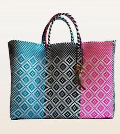 Large woven tote with short straps