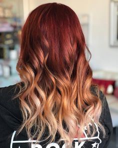 Red Blonde Ombre Hair, Red Hair With Blonde Highlights, Best Ombre Hair, Red Ombre Hair Color, Red Hair For Blondes, Fire Ombre Hair, Natural Ombre Hair, Hair Color Auburn, Auburn Hair