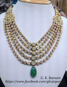 Green meenakari diamond polki 5-line necklace   Vilandi Jewelry   Diamond polki jewelry   Bridal sets   Traditional Indian Jewelry   Wedding Jewelry