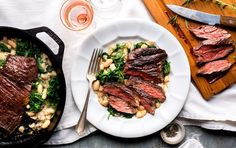 Pan-Seared Steak with Kale and Creamy White Beans   Recipe