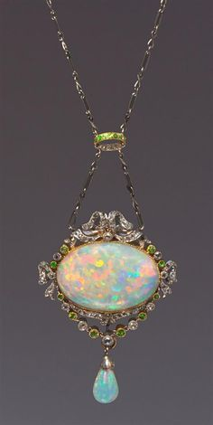 A Belle Epoque Platinum, Rose Gold, Opal, Diamond and Demantoid Garnet Necklace