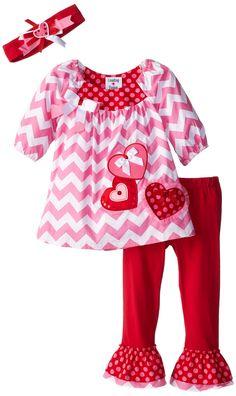 Rare Editions Little Girls' Heart Applique Chevron Set, Red, 4