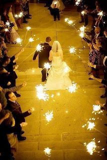 Love the sparklers instead of rice being thrown at you!