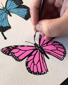 small canvas art By: boelterdesignco Cute Canvas Paintings, Small Canvas Art, Mini Canvas Art, Acrylic Painting Canvas, Diy Painting, Gouache Painting, Face Paintings, Art Papillon, Papillon Rose