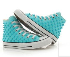 Converse studded Chuck Taylor custum converse high top skyblue shoes... WANT SOO BADDD
