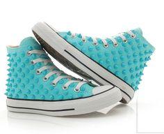 Converse studded Chuck Taylor custum converse high top skyblue shoes... WANT SOO BADDD