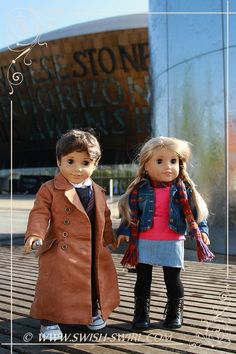 """LOVE these DOCTOR WHO Tenth Doctor and Rose Tyler custom American Girl dolls from Olga at Swish & Swirl. Olga made Rose's denim skirt using Lee & Pearl Pattern #1041: Slim Skirts, Denim and Pencil Skirts for 18 Inch Dolls. Olga said, """"I loved the skirt -how easy it was to put together and the attention to details!!"""" Get your own copy of this cute, versatile pattern in the Lee & Pearl Etsy store at https://www.etsy.com/listing/223591590/lp-1041-slim-skirts-denim-and-pencil"""