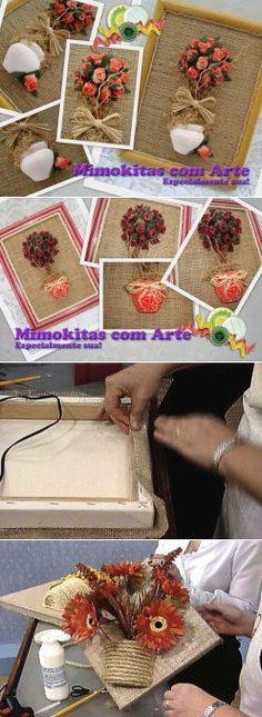 Мешковина, джут и цветочный горшок. Идеи декоративных панно.