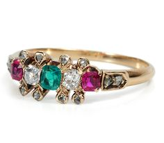 Trifecta of Gems: Antique Gold Victorian Ring - The Three Graces