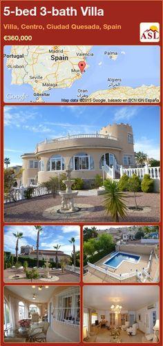 5-bed 3-bath Villa in Villa, Centro, Ciudad Quesada, Spain ►€360,000 #PropertyForSaleInSpain