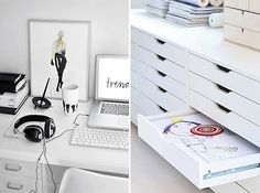 I love white home office elements.