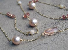 Australian Opal, Oregon Sunstone and Pearl Necklace in 18k Gold on Etsy, $2,500.00