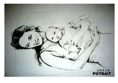 Mum and baby portrait.media charcol on a3 paper