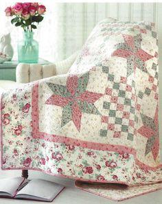 Quilt Pattern Liberty Stars Intermediate Pinwheel Center Pink Blue Fons Porter | eBay