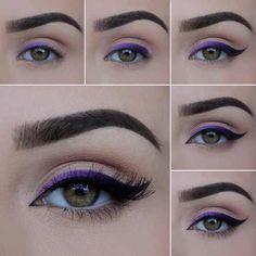 Purple Ombré Eyeliner - Makeup Tutorial - Make up hacks Lila Eyeliner, Purple Eyeliner, Makeup Tutorial Eyeliner, Eyeliner Hacks, Eyeliner Styles, Purple Makeup, How To Apply Eyeliner, No Eyeliner Makeup, Makeup Hacks