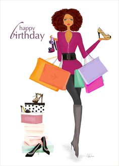 This Birthday Collection greeting card assortment includes this stylish Counting Shoes birthday card along with 7 other fashionable designs with fun birthday messages. multicultural | African American | art | illustrations