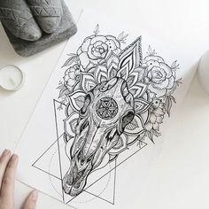Custom tattoo design, horse skull