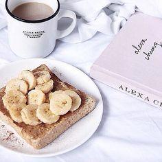 Peanut butter and banana toast + a good coffee | Sounds good to me! via eatmycakes