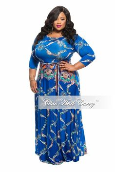 Long Dress with 3/4 Sleeve and Tie in Blue, White and Orange http://chicandcurvy.com/
