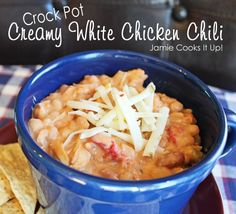 Creamy White Chicken Chili in the Crock Pot:  this was delicious!!! I used 3 skinless boneless chicken breasts instead, added a 15oz can of diced tomatoes and doubled the sour cream/whipping cream. Perfect!