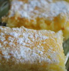 Two-Ingredient Lemon Bars - Four Seasons RecipesFour Seasons Recipes - 1 pkg angel food cake mix, 1 can lemon pie filling  (Tried with dry sugar free, fat free pudding mix and almond milk replacing canned pie filling.  Baked up great, looked fine, but flavor was off.)