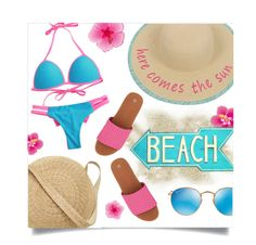 """""""Sun's Out: Beach Day"""" by leslee-dawn ❤ liked on Polyvore featuring George, Bernie Mev, Samuji, Ray-Ban and Shabby Chic"""