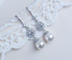 Braut Ohrringe Hochzeits-Perle und weißen Cubic von CrinaDesign73