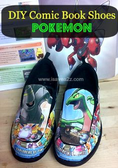 DIY Comic Book Shoes!  Pokemon Shoes!  #Crafts #DIY #Comic #Kids  #Pokemon