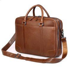 df83059c7 ANAPH Značka Pánská Aktovka Hnědá kožená taška Business For 15 Inch Laptop  Vysoká kvalita se dvěma hlavními taškami Dvojité zipy otevřené
