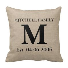 Add your own monogram, initial, family name and wedding anniversary or birthday date faux jute linen burlap rustic chic shabby country chic lumbar throw pillow. Monogram Pillows, Rustic Pillows, Decorative Throw Pillows, Throw Cushions, Wedding Initials, Monogram Wedding, Wedding Canvas, Personalized Wedding, Personalized Gifts