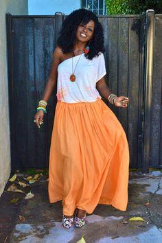 beige free people Grecian blouse - carrot orange zara maxi skirt