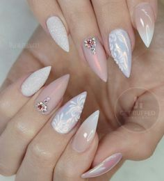 Almond shape of nails, pastel shades, beige color combined with white will make your hands look gentle and cultivated. It is very important, if you are doing a regular manicure and dry the gel under the UV lamp, to the take care of your hands. Glam Nails, Fancy Nails, Trendy Nails, Beauty Nails, Stiletto Nails, Nail Art Rhinestones, Rhinestone Nails, Uñas Fashion, Fashion Ideas
