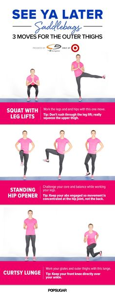 Work your outer thighs with this saddlebag workout. The 5-minute video gets your heart rate up while toning that trouble zone. #totalbodytransformation